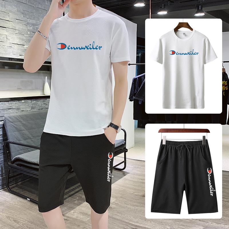 【GJXN】潮牌T恤运动套装休闲两件套-秒客网