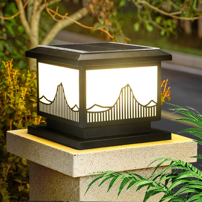 Modern minimalist solar stadle lamp outdoor waterproof garden villa garden room peripheral wall door column wall lamp