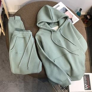 Закрытый свитер женские костюмы осень и зима корейский студент свободный утолщённый с дополнительным слоем пуха движение Одежда модный для досуга два рукава прилив