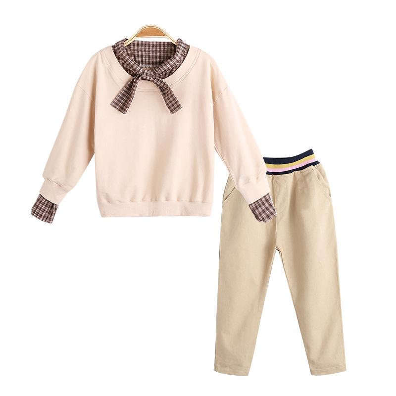 童装女童套装秋装新款2019中大童韩版洋气蝴蝶结领结长裤两件套潮
