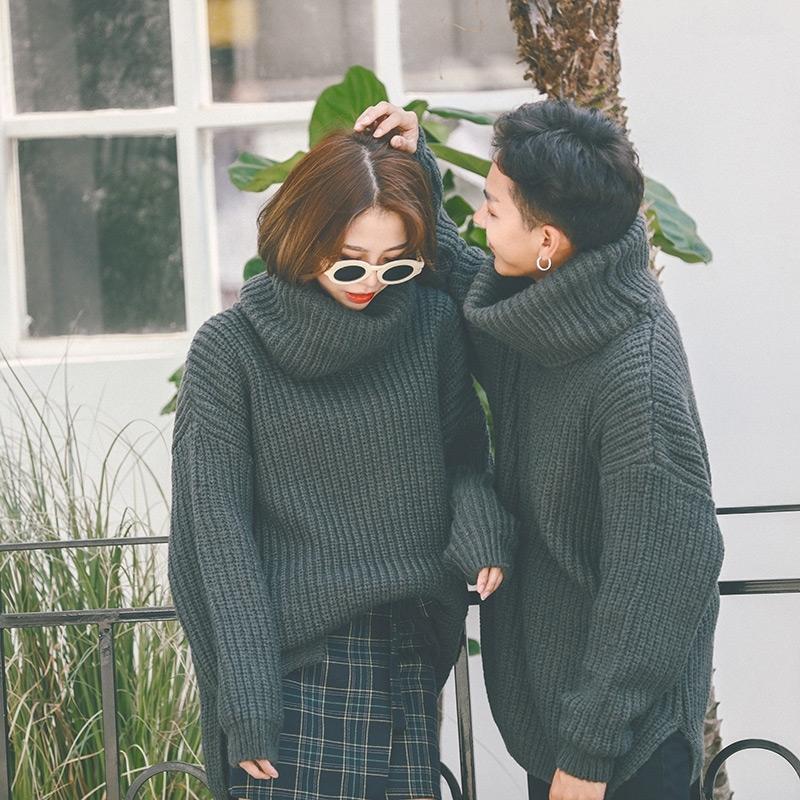 情侣装2017新款韩版宽松高领毛衣加厚纯色外套秋冬粗线针织男女潮