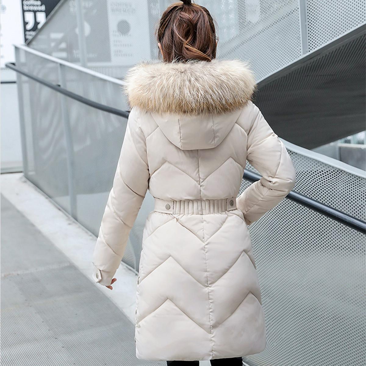 冬新款外套女中长款加厚修身学生棉服连帽可拆卸毛领羽绒棉衣棉袄
