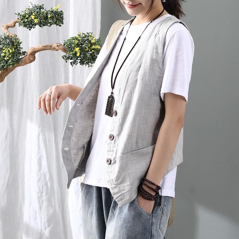 Gu Yuedie mùa xuân mới cotton và vải lanh phụ nữ nhỏ vest văn học retro lỏng áo vest không tay kan ~ - Áo vest