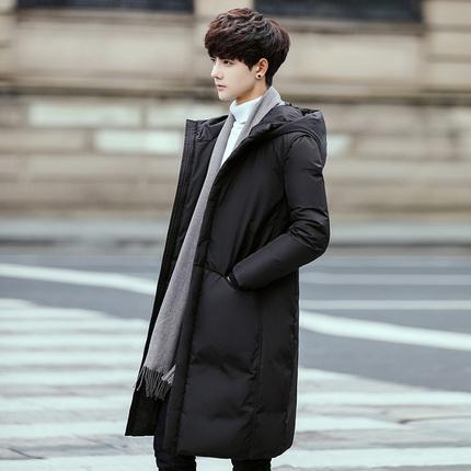 2019流行韩版冬装新款羽绒服男士中长款保暖连帽外套男白鸭绒长款