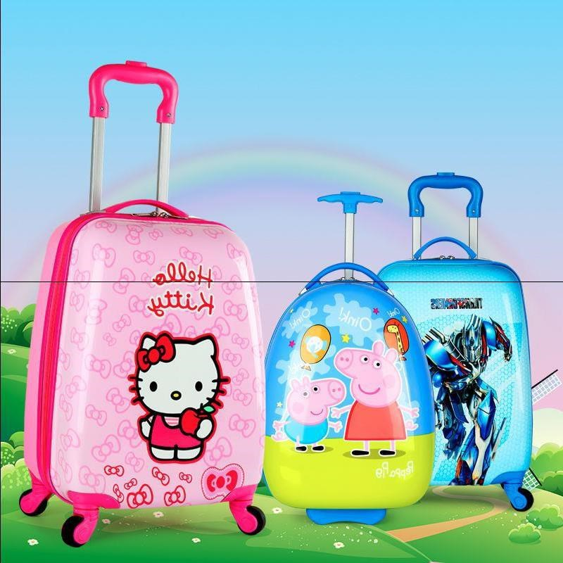 Children's cute cartoon boy and girl baby princess bag 1618 inch million to wheel pull the suitcase small trip cute