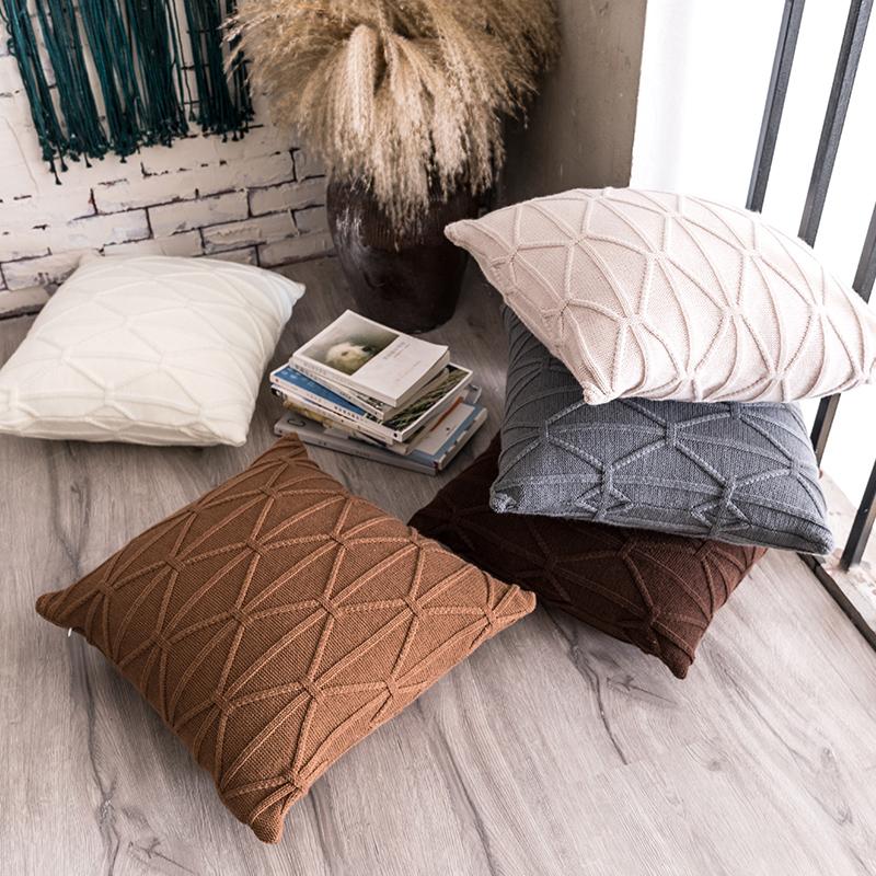 Đan len len đan sofa trang trí gối eo đệm sàn đệm Nhật Bản nhiếp ảnh trang trí gối vuông - Trở lại đệm / Bolsters