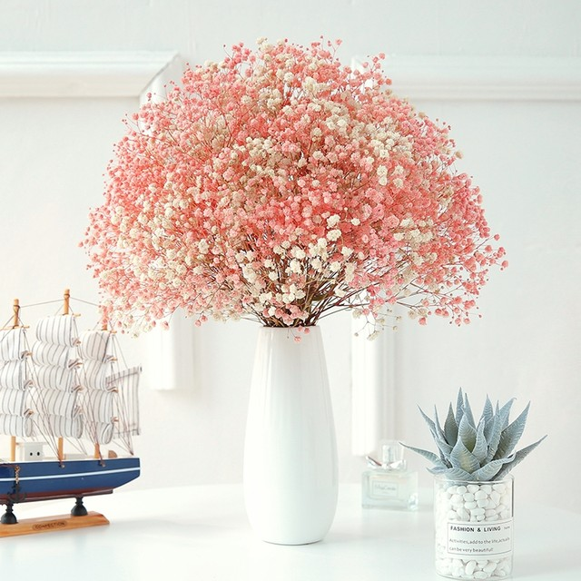 Dried Flowers Gypsophila Living Room Bedroom Real Flower Bouquet Forget Me Not With Vase Decoration Ornaments Dry Flower Arrangement Home Furnishings