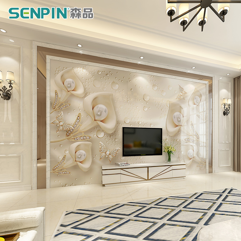design of atmospheric living room tv background wall   [USD 13.20] Marble TV background wall tiles European ...