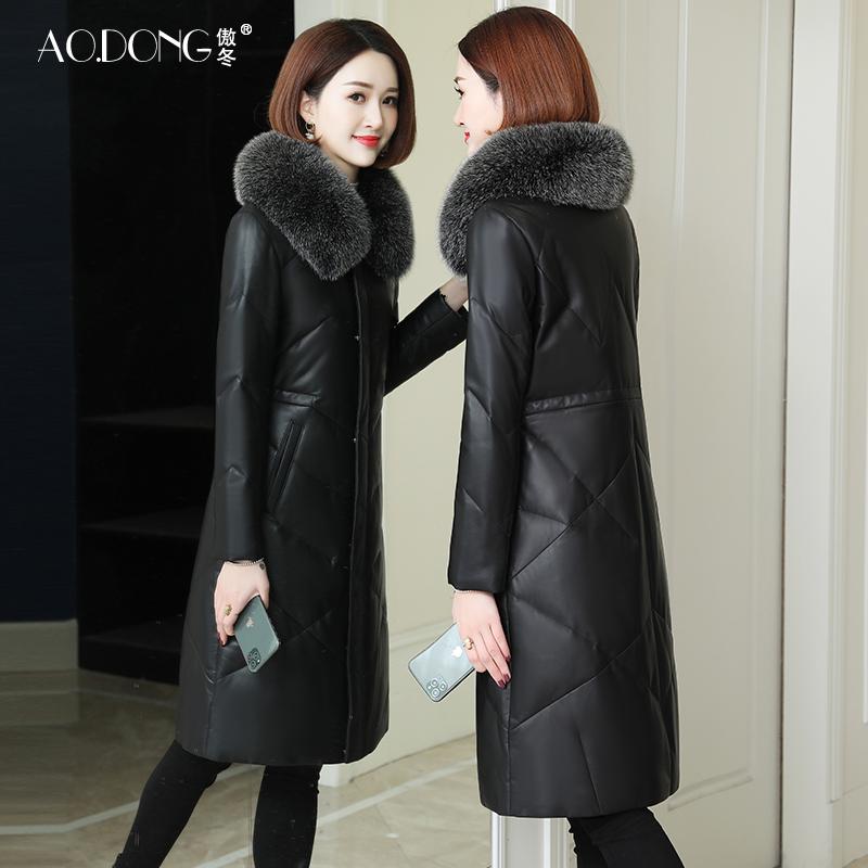 Aodong 2019 áo khoác da mới xuống áo khoác da nữ dài đến giữa da cừu lông cáo cổ áo lông dày - Quần áo da