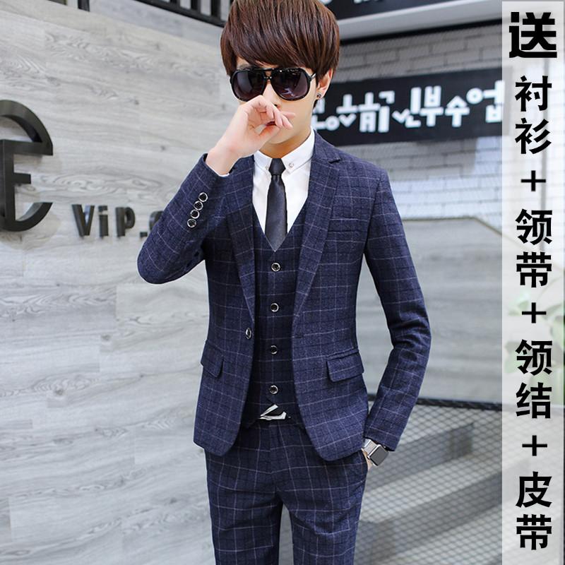 西服套装男士三件套青年韩版帅气西装修身伴郎团新郎结婚礼服英伦