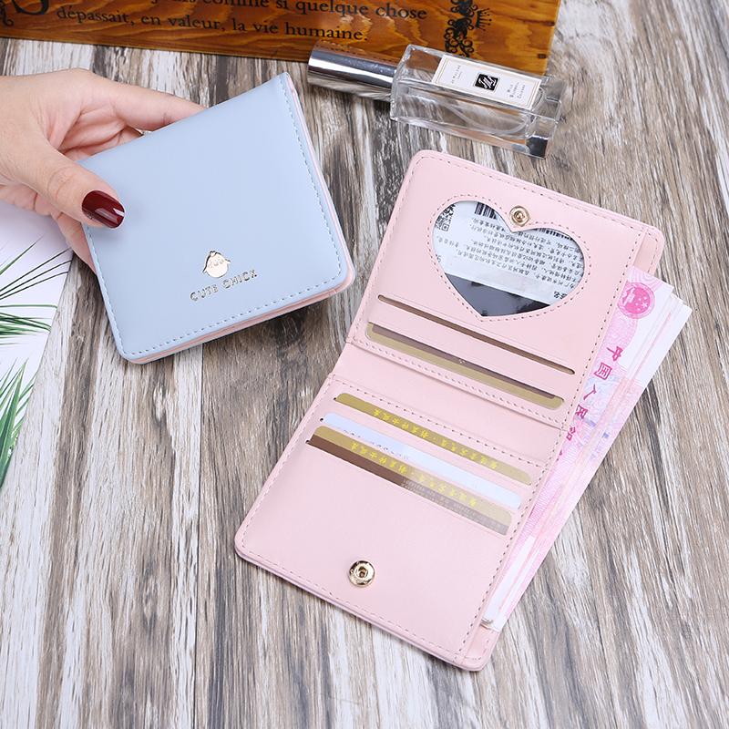 Ví nhỏ nữ ngắn Phần phiên bản tiếng Hàn của ví sinh viên hai lần đổi ví mini gói gấp thẻ nữ đơn giản khóa ví - Ví / chủ thẻ