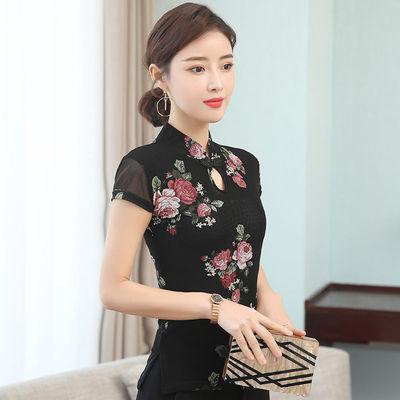 2021夏季新款中国风女装 大码复古网纱打底衫 立领蕾丝短袖上衣