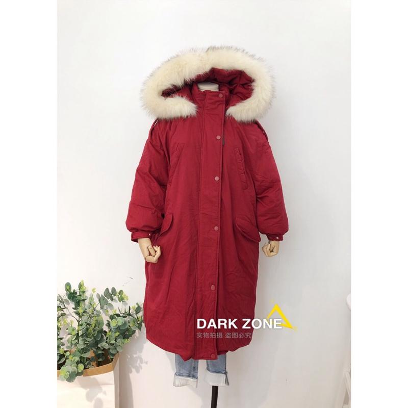 2018新款圣诞红色大毛领长款工装厚外套东大门过膝棉服大衣女显瘦