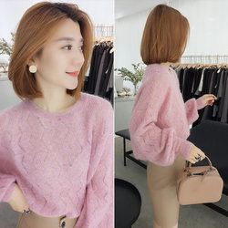 European station 2020 spring and autumn new European goods fashion loose gentle style foreign pink sweater thin knit sweater women