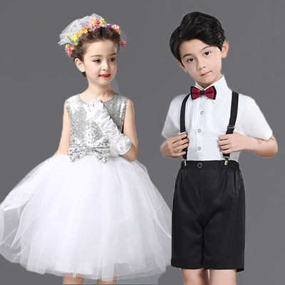 White Sequin children's performance clothes chorus boys' little Dress Shirt Short Sleeve British girl princess skirt