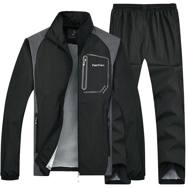 春秋季爸爸男装中年40运动休闲60岁跑步外套装30夹克大码衣服装50