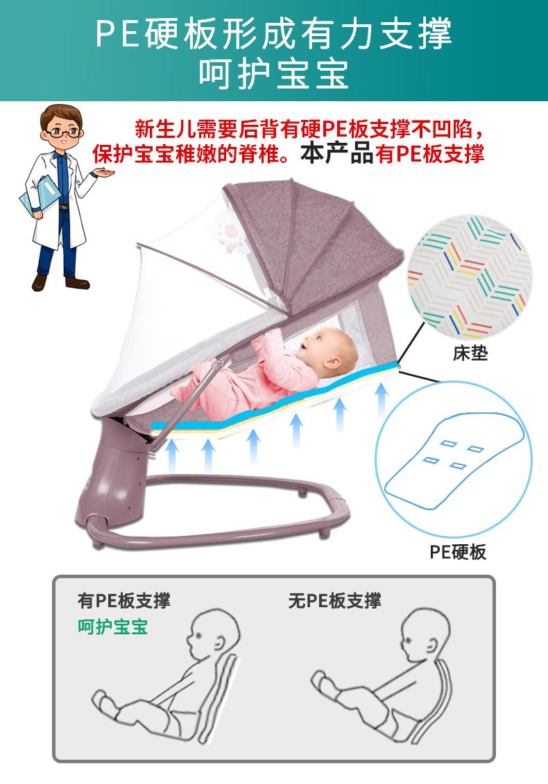 婴儿电动摇摇椅摇床安抚椅哄娃睡神器电动宝宝摇篮椅睡篮智能摇床详细照片