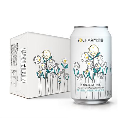 云臣(Yocharm) 四无精神百香果味气泡苏打水 无糖0卡330ml*24罐