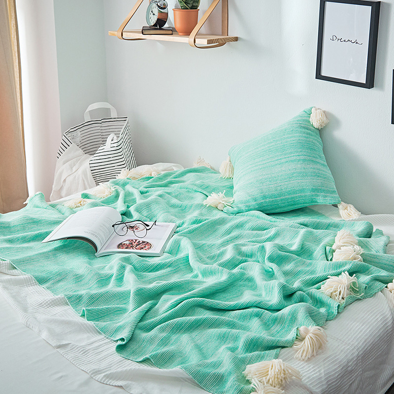 Mới dệt kim chăn bông gradient chăn giải trí chăn mềm nhà trang trí màu rắn đơn giản hiện đại màu xám bạc hà cam - Ném / Chăn