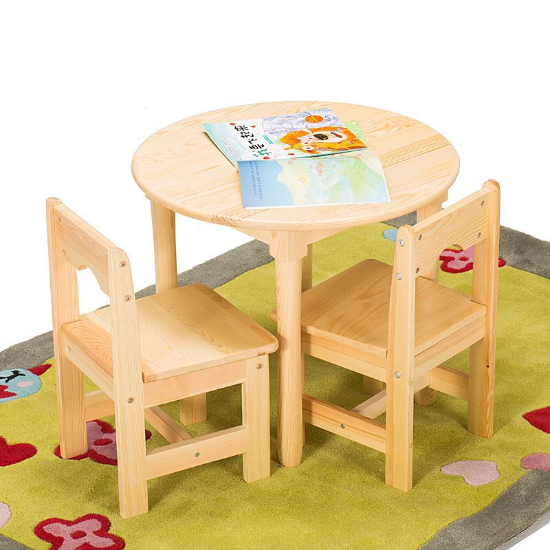 Solid Wood Children Small Round Table Baby Chair Set Kindergarten Tables And Chairs Whole Painting