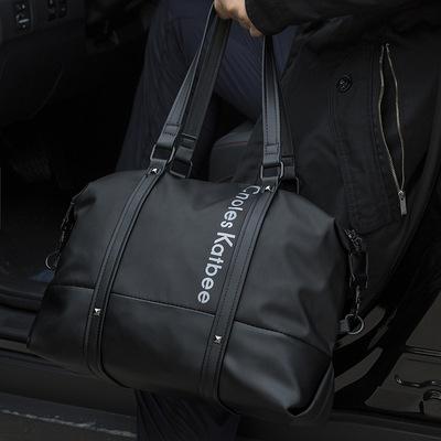 男士手提包单肩斜跨包ins潮休闲商务健身包短途出差行李袋旅行包