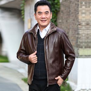 中年男士皮衣夹克加绒加厚皮衣