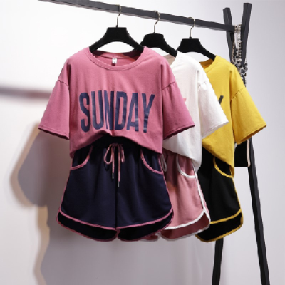 港味运动套装女夏2021新款韩版时尚跑步服休闲宽松短袖短裤两件套