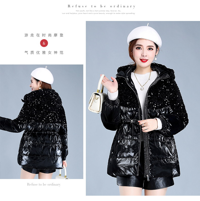 Bright-faced down cotton clothing women's long-term winter 2020 new thick warm hooded cotton wool cotton jacket tide 53 Online shopping Bangladesh
