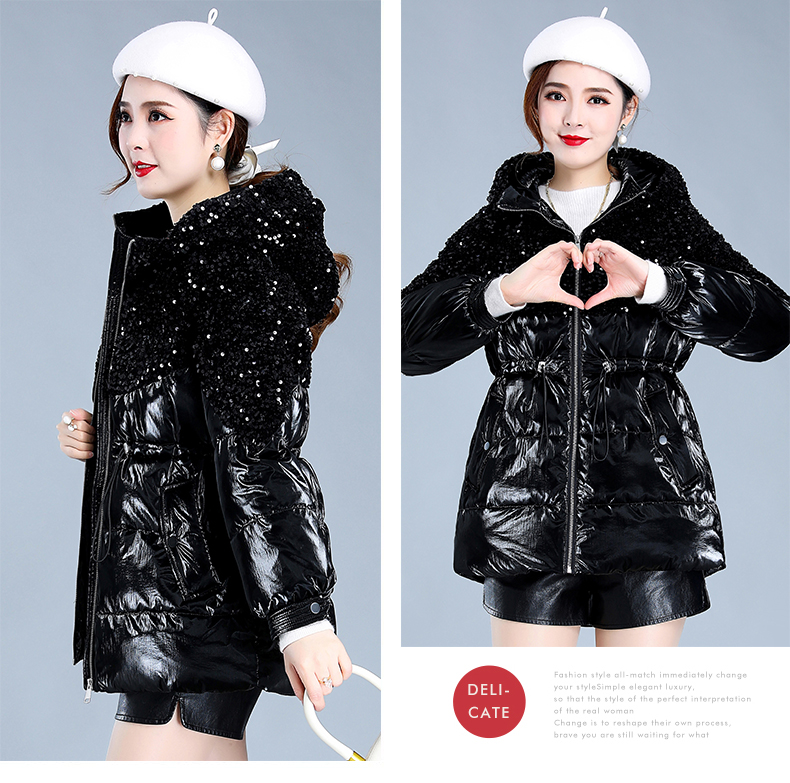 Bright-faced down cotton clothing women's long-term winter 2020 new thick warm hooded cotton wool cotton jacket tide 55 Online shopping Bangladesh