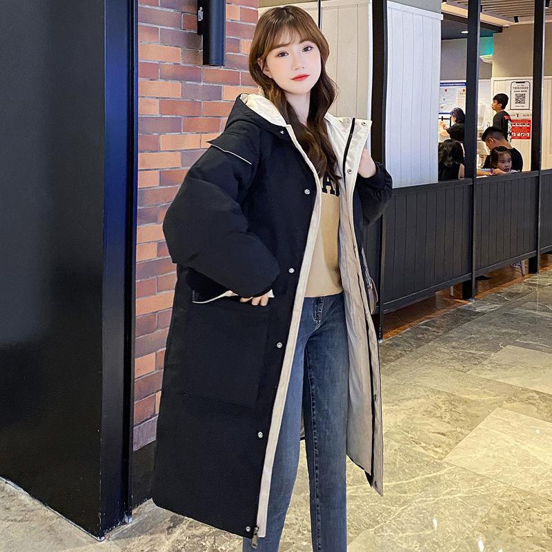 过膝羽绒棉服女中长款棉袄冬季新款宽松大码连帽加厚保暖棉衣外套