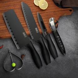 【婴儿级纳米陶层】大差价:黑钢刀具5件套