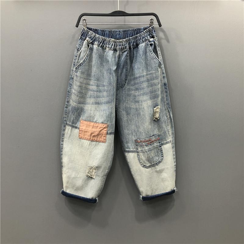 欧货2020夏季新款时尚腰个性松紧贴布做旧破洞七分裤牛仔裤垮裤女