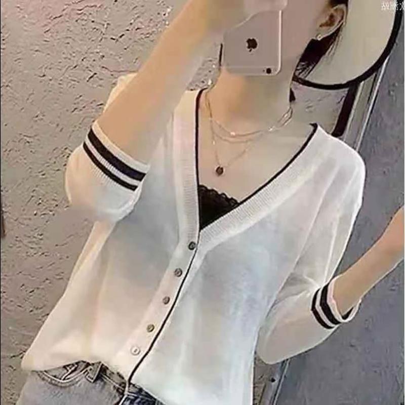 薄款七分袖针织防晒衫女冰丝V领开