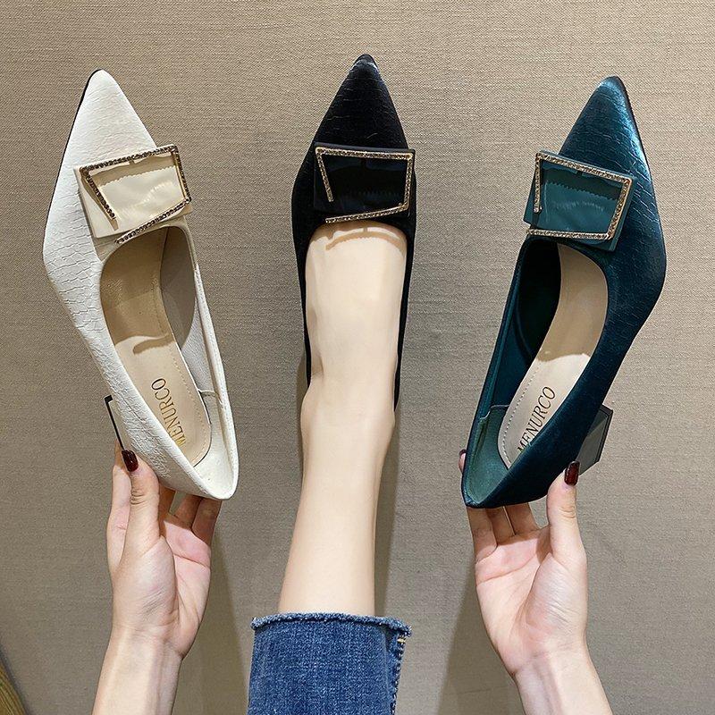 法式高跟鞋女春款粗跟2021新款百搭尖头浅口方扣中跟低跟单鞋5cm