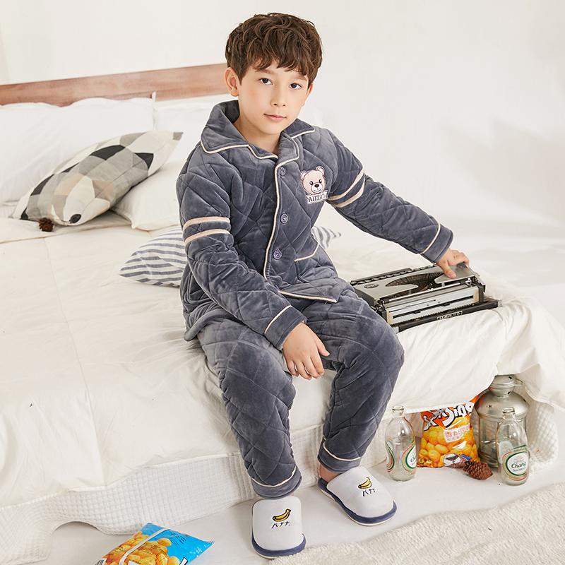 儿童法兰绒睡衣男童秋冬季夹棉加厚款中大童宝宝珊瑚绒家居服套装
