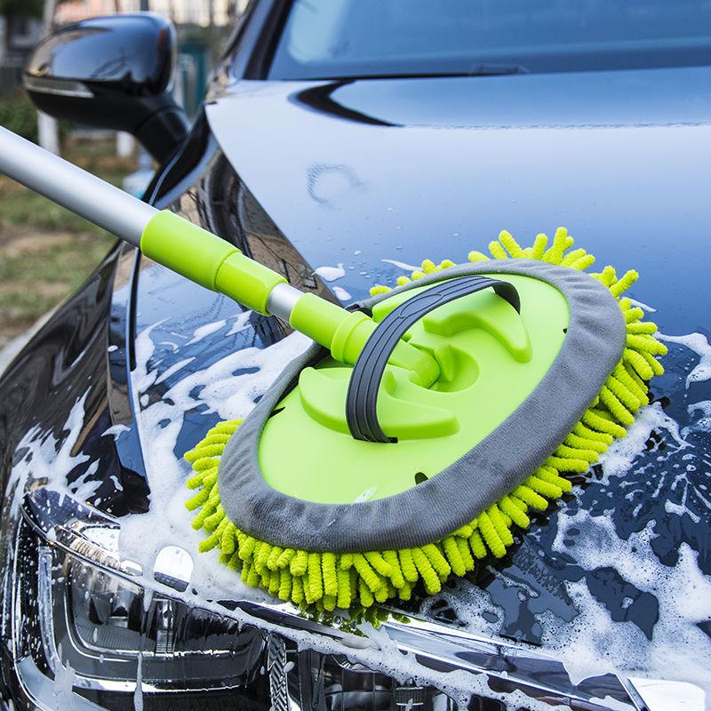 洗车拖把伸缩雪尼尔软毛刷子长柄杆擦车专用
