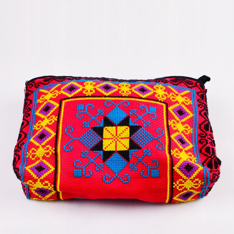 民族新款长款彩色风绣花包包手机斜挎刺绣零钱包小包十字绣手拿包