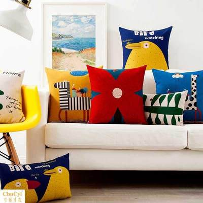Nordic Meng Bird Creative Pillow Cotton Sofa Pillow Cute Cartoon Cushion Car Waist Pillow Bedside Covenant Window Pillow