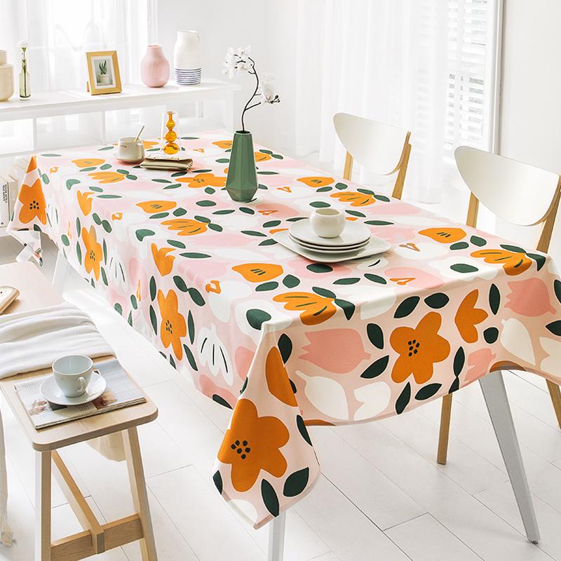 Khăn trải bàn Bắc Âu không thấm nước và không dùng một lần bông và vải lanh dày chống bàn vảy vải lưới đỏ in khăn trải bàn hình chữ nhật - Khăn trải bàn