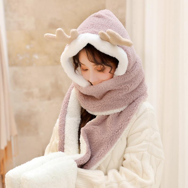 麋鹿围巾女冬季可爱少女过年百搭韩版帽子围脖手套一体冬日系毛绒-给呗网