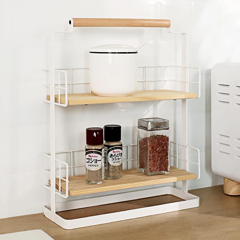 KES安象厨房用品实木收纳置物架日式双层化妆品调味料台面收纳架