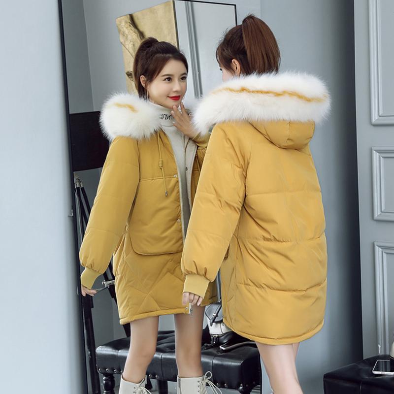宣芭2019冬新款时尚女宽松中长款大毛领韩版加厚外套棉服棉衣羽绒