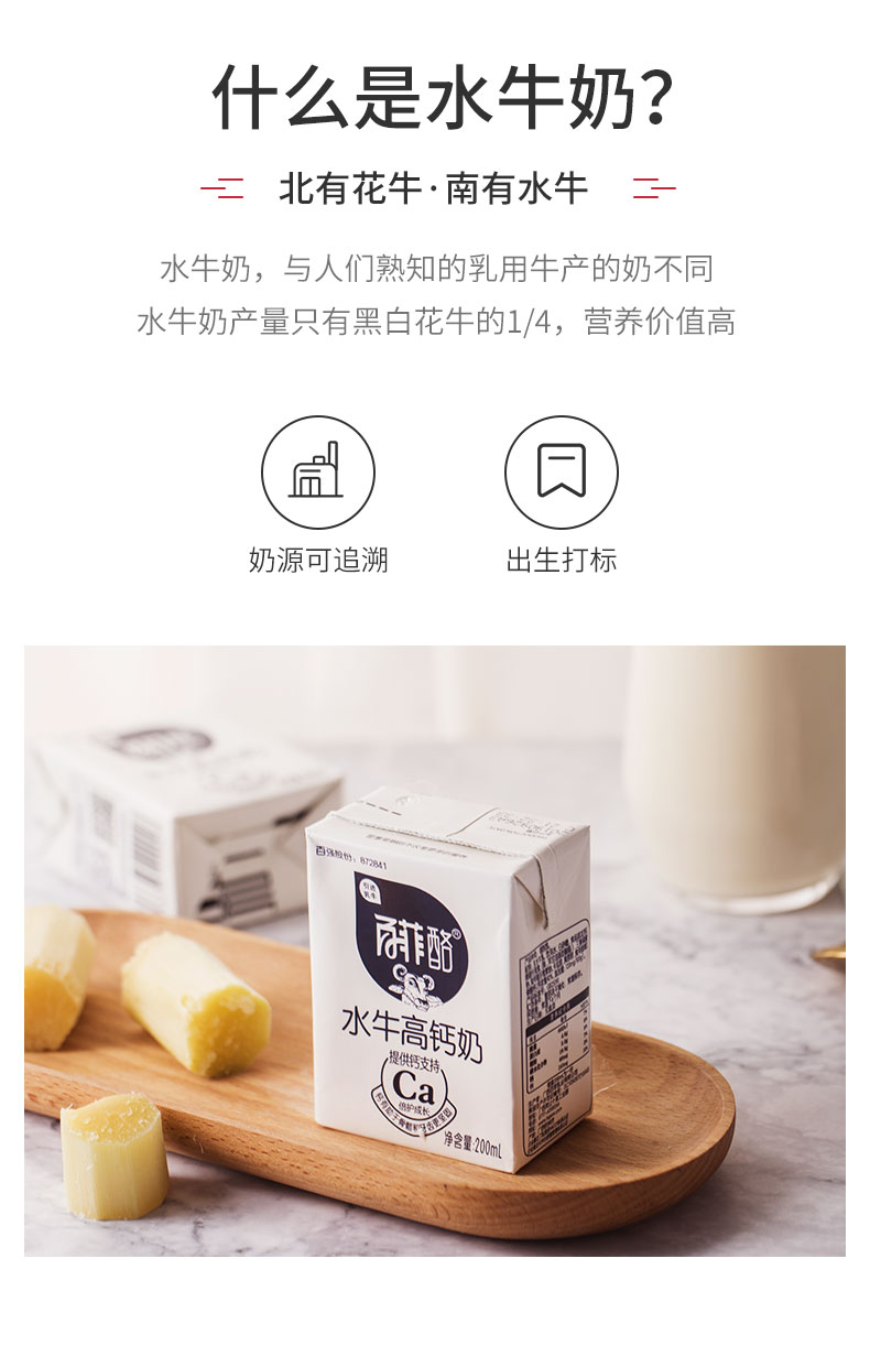 百菲酪 水牛高钙奶 200ml*10盒*2箱 图2