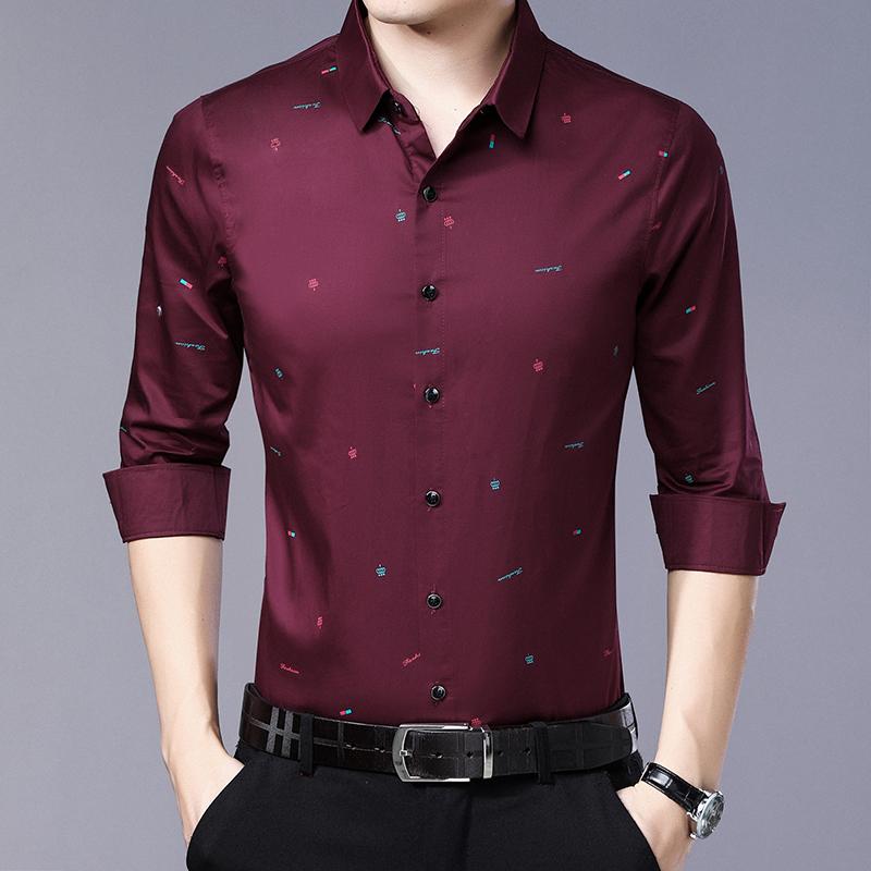 长袖衬衫男春秋薄款休闲衬衣爸爸装