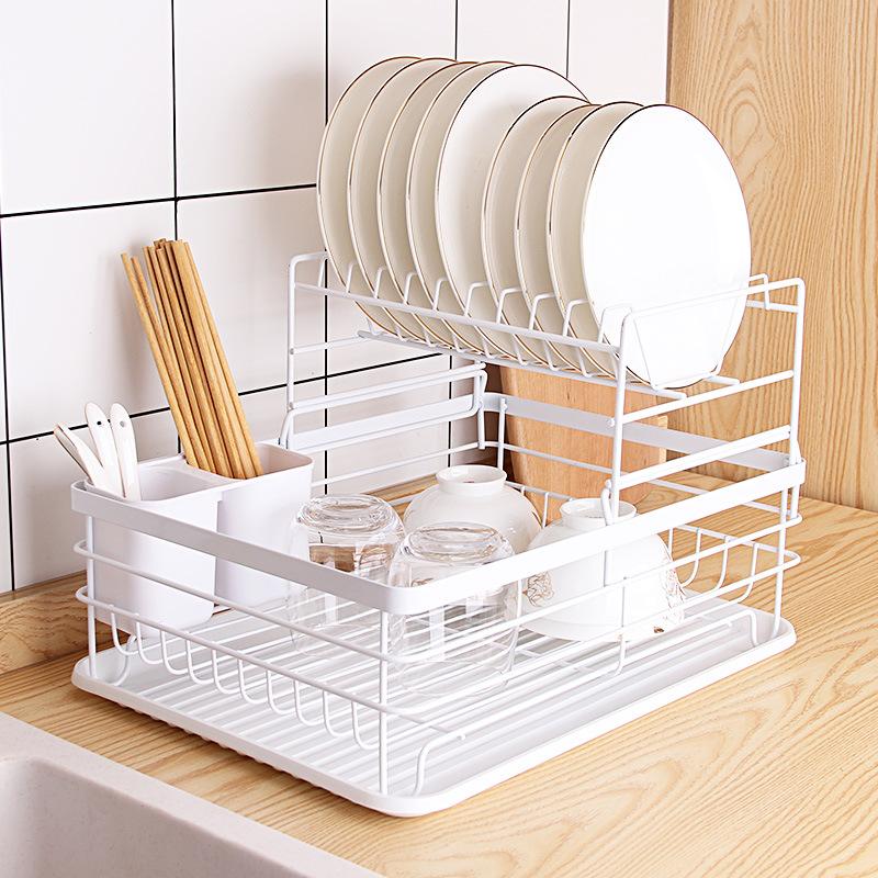 日式铁艺餐具收纳碗碟架多功能厨房置物架大容量沥水碗架储物架子