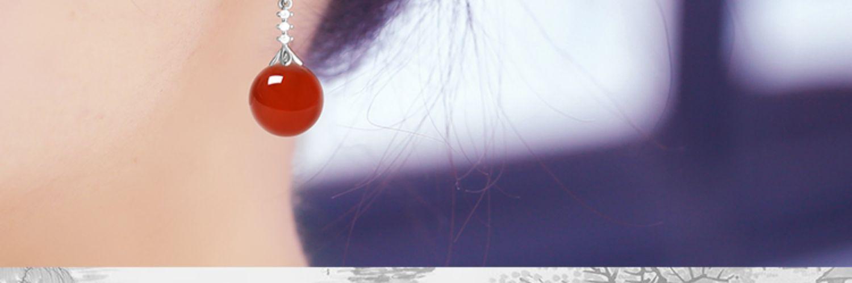 天然玛瑙耳环纯银珍珠耳饰年新款潮气质耳针丢了一隻翡翠耳坠详细照片