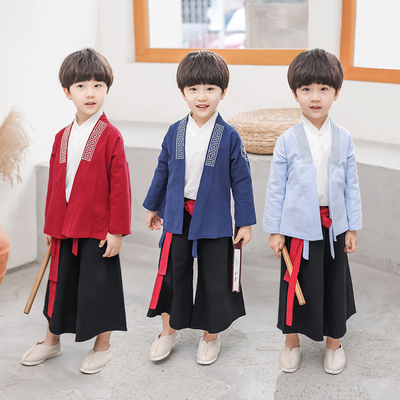 Boys Tang Suit for Kids Boy Hanfu ancient costume super Xianru skirt Tang suit children Chinese style Childrens three piece spring suit