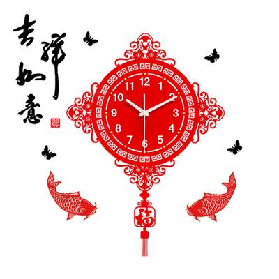 新中式钟表挂钟客厅创意超静音艺术夜光家用中国风装饰摇摆石英钟