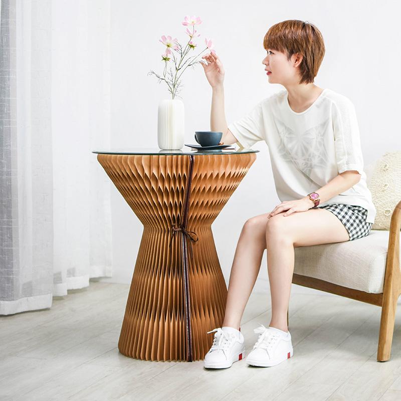 十八纸家具圆边桌折叠北欧小户型时尚创意设计茶几桌子ins高艺术