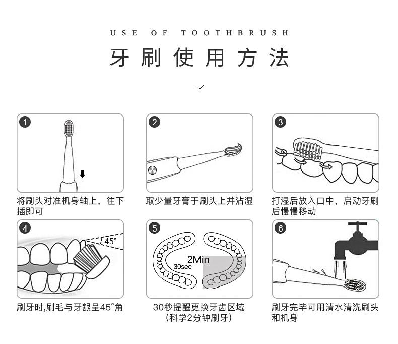 悦代防水电动牙刷学生党女生充电式自动洗脸静音成人声波情侣套装商品详情图